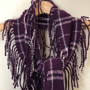 Burberry Plaid Double Fringe Merino Happy Scarf
